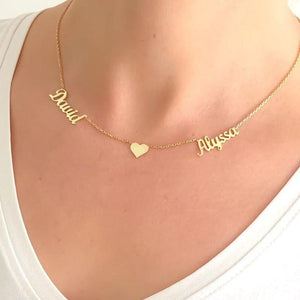 Custom Names One Heart Necklace