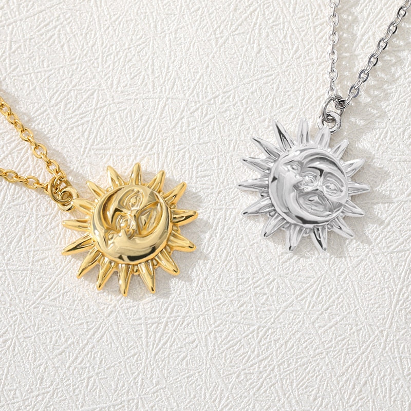 Vintage Sun And Moon Necklace