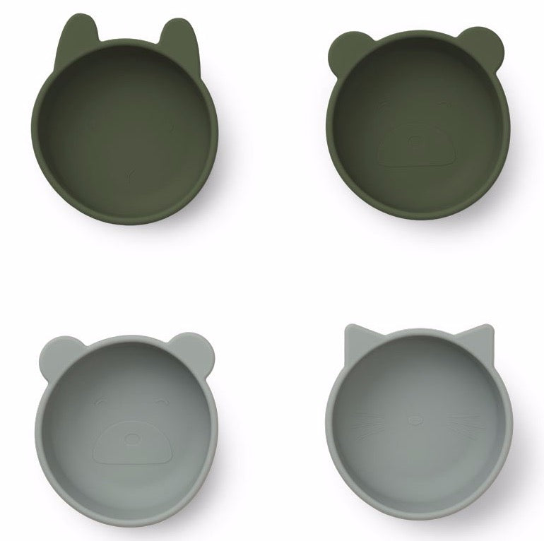 Liewood 4pk Iggy Silicone Bowls Hunter Green Mix