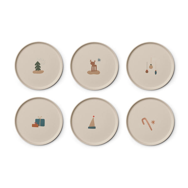 Liewood 6pk Patric Bamboo Plate Holiday Mix