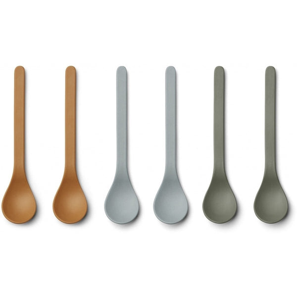 Liewood 6pk Etsu Bamboo Spoon Blue Multi Mix