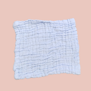 Blue - Organic Cotton Muslin 6-layer Washcloth