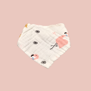 Flamingo Bandana Bib – 8 Layer Organic Cotton Muslin