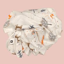 Load image into Gallery viewer, Forest Friends - Organic Cotton Muslin Swaddle Sheet