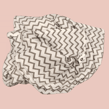 Load image into Gallery viewer, Grey Zigzag - Organic Cotton Muslin Swaddle Sheet
