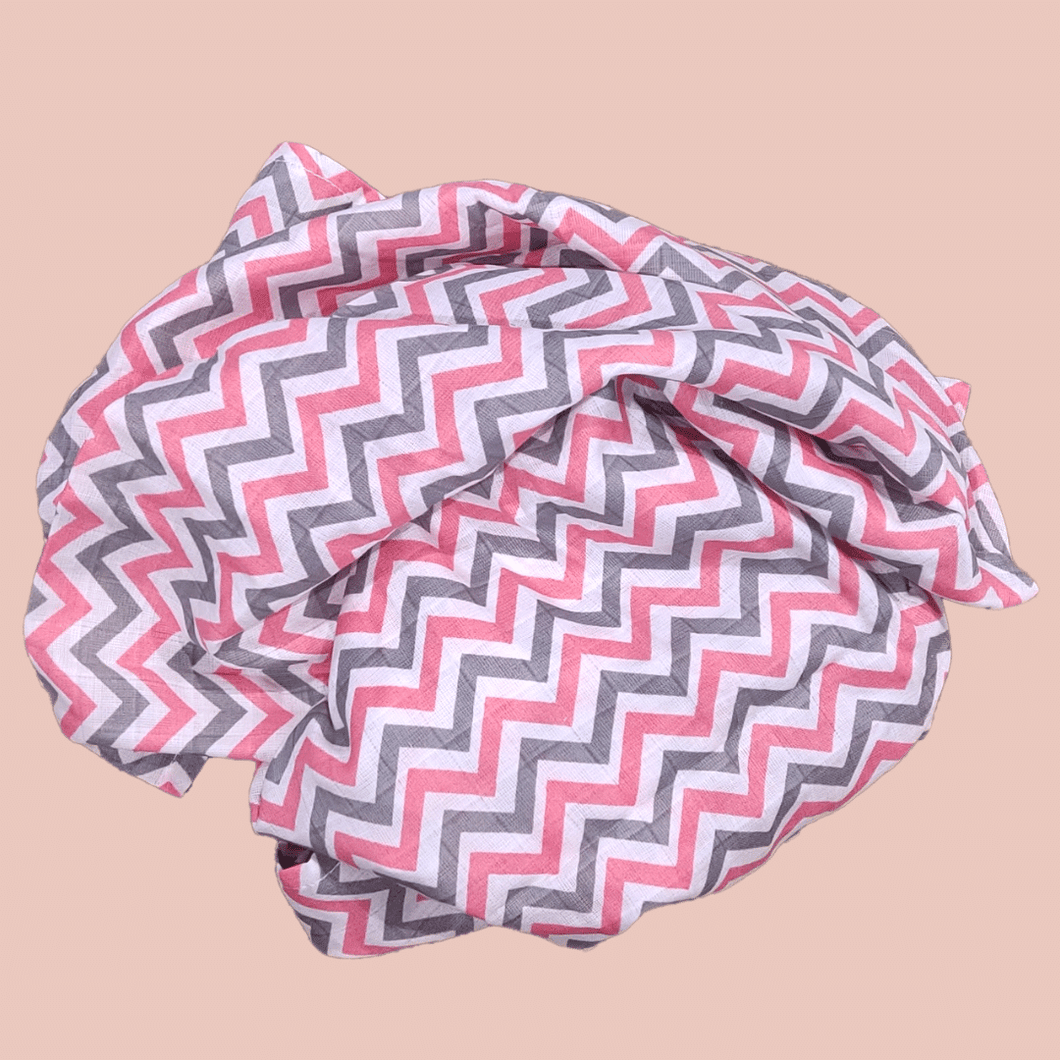 Pink Grey Zigzag - Organic Cotton Muslin Swaddle Sheet