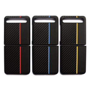 Samsung Galaxy Z flip Cover Luxury Genuine Leather Carbon