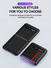 Load image into Gallery viewer, Samsung Galaxy Z flip Cover Luxury Genuine Leather Carbon