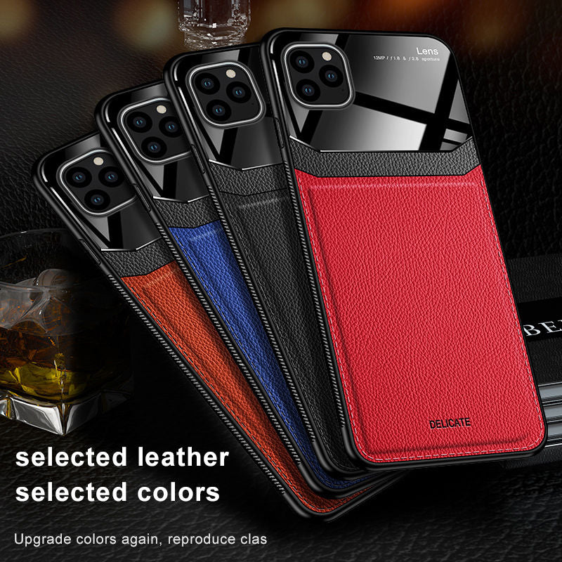 Luxury Leather Case For iPhone 11 & 12 Pro Max Mirror Glass Silicone
