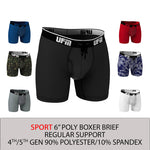 Parent UFM Underwear for Men Sport Polyester 6 inch Boxer Brief Multi 800