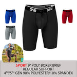 REG Support 9 Inch Boxer Briefs Polyester Gen 4-5 Available in Black, Gray, Royal Blue & Red