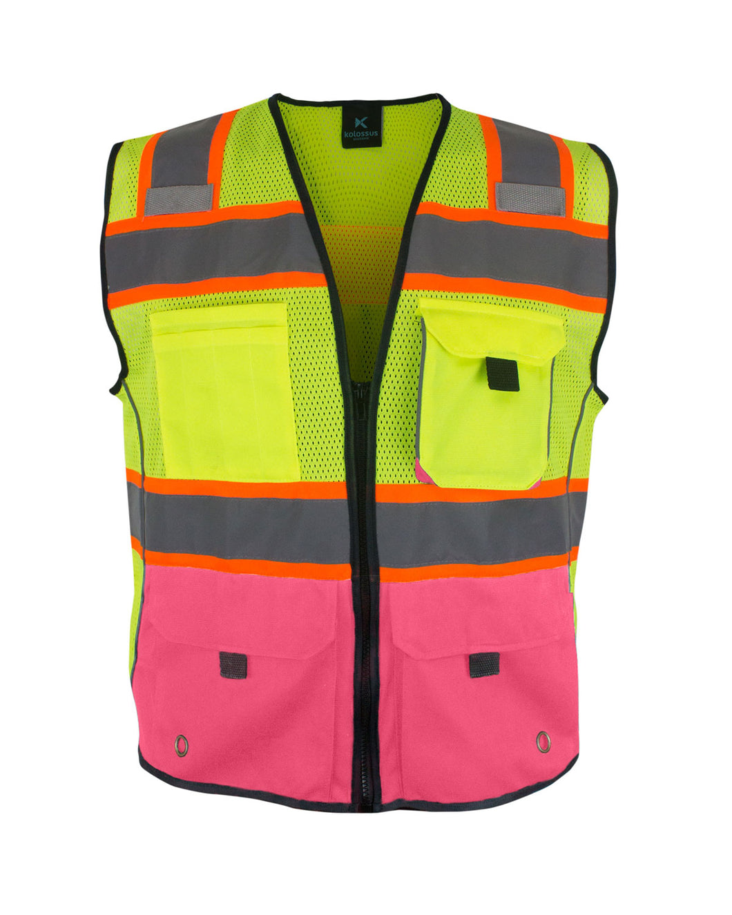 KV02H50 - Kolossus Deluxe High Visibility Vest with Multi Frontal Pockets | ANSI Class 2 Compliant - Pink