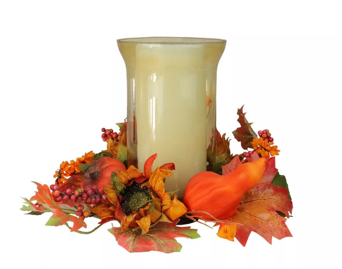 16 Inch Orange and Red Sunflower with Pumpkin Fall Pillar Candle Holder