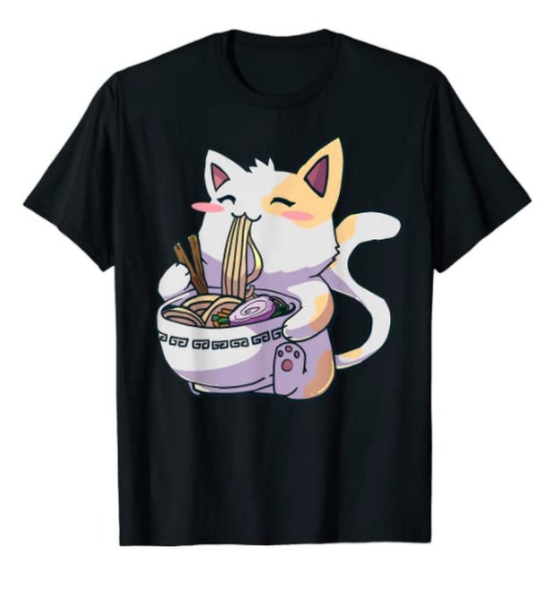 Cute Japanese Cat Anime T-Shirt