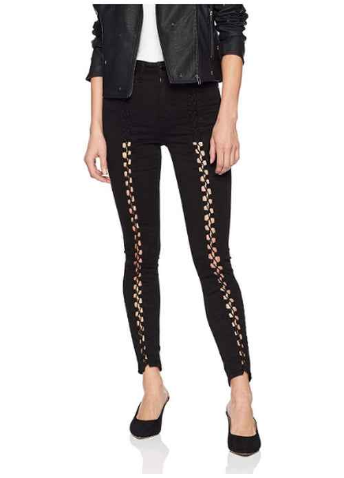 GUESS Women's Black Lace Up Super High Rise Jean