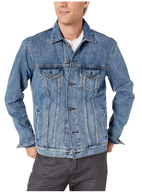 Lucky Brand Mens Blue Tencel Trucker Jacket