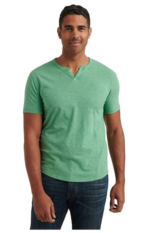 Lucky Brand Mens Short Sleeve Notch Neck Slub T-Shirt