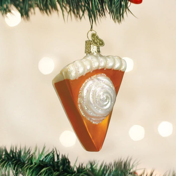 Edmonds Mall - Piece Of Pumpkin Pie Glass Blown Tree Ornament