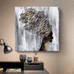 African American Gold and Black Women Artwork Canvas Print