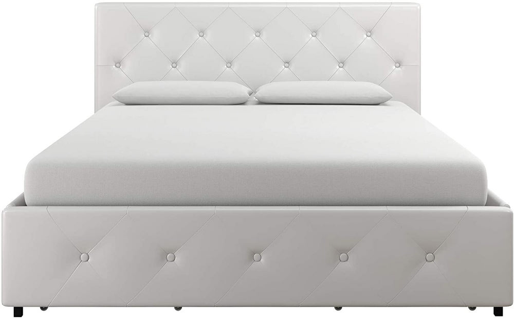 Upholstered Faux Leather Platform Bed with Storage Drawers | Edmonds Home Goods