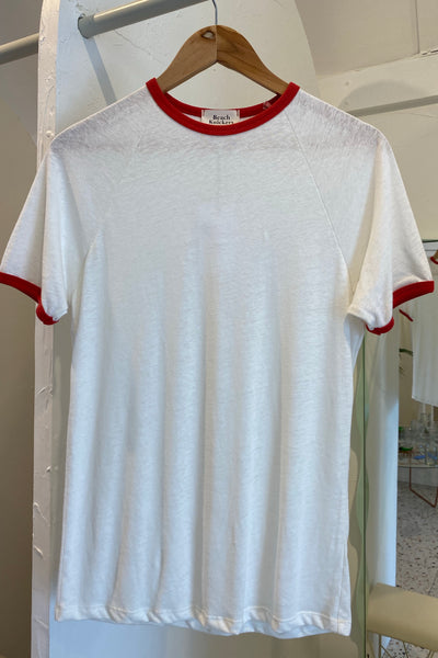 Ringer Tee - White & Red