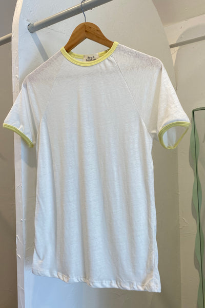 Ringer Tee - White & yellow