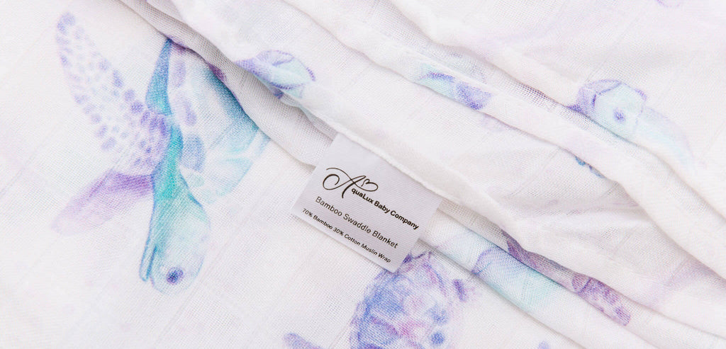 Bamboo Swaddle Blanket with purple turtles pattern from AquaLux Baba Company, 70% bamboo, 30% cotton muslin wrap
