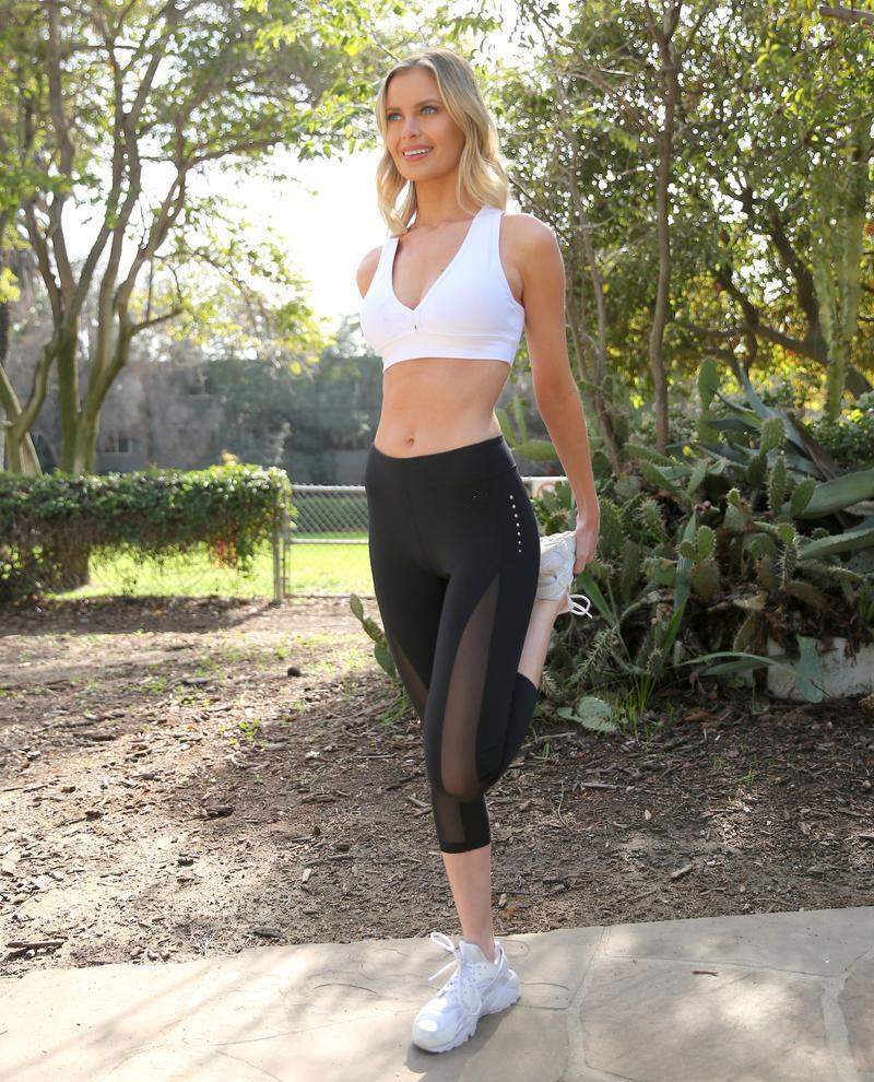 L'espace Low-Waisted Capri Leggings with Mesh Panels and Reflective Strips