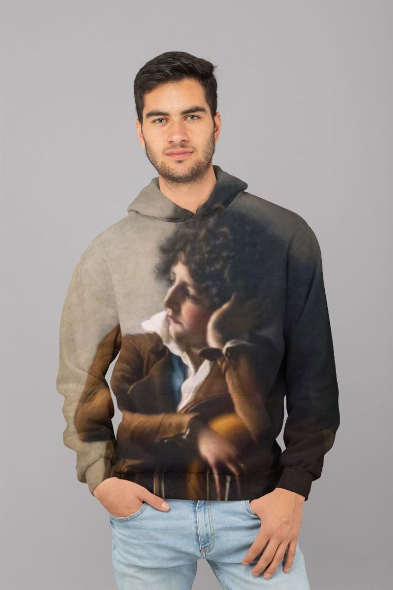 Portrait of Benoît-Agnes Trioson by Anne-Louis Girodet de Roussy-Trioson Women sweater (2) UNISEX Sublimation Hoodie
