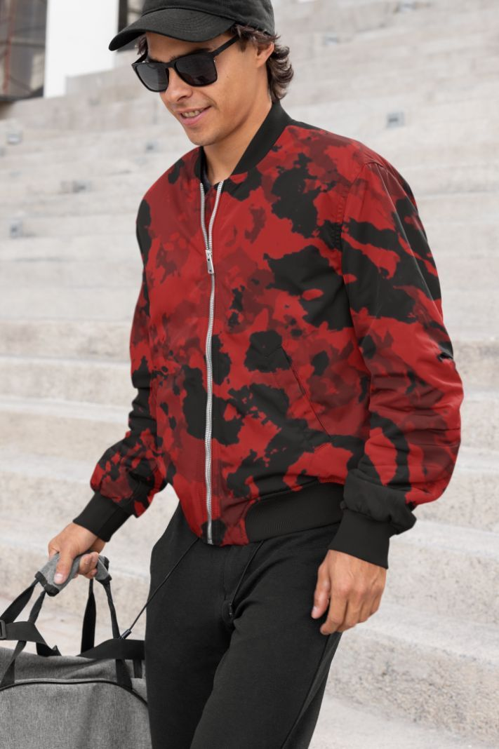 Fire Abstract Design Bomber Jacket