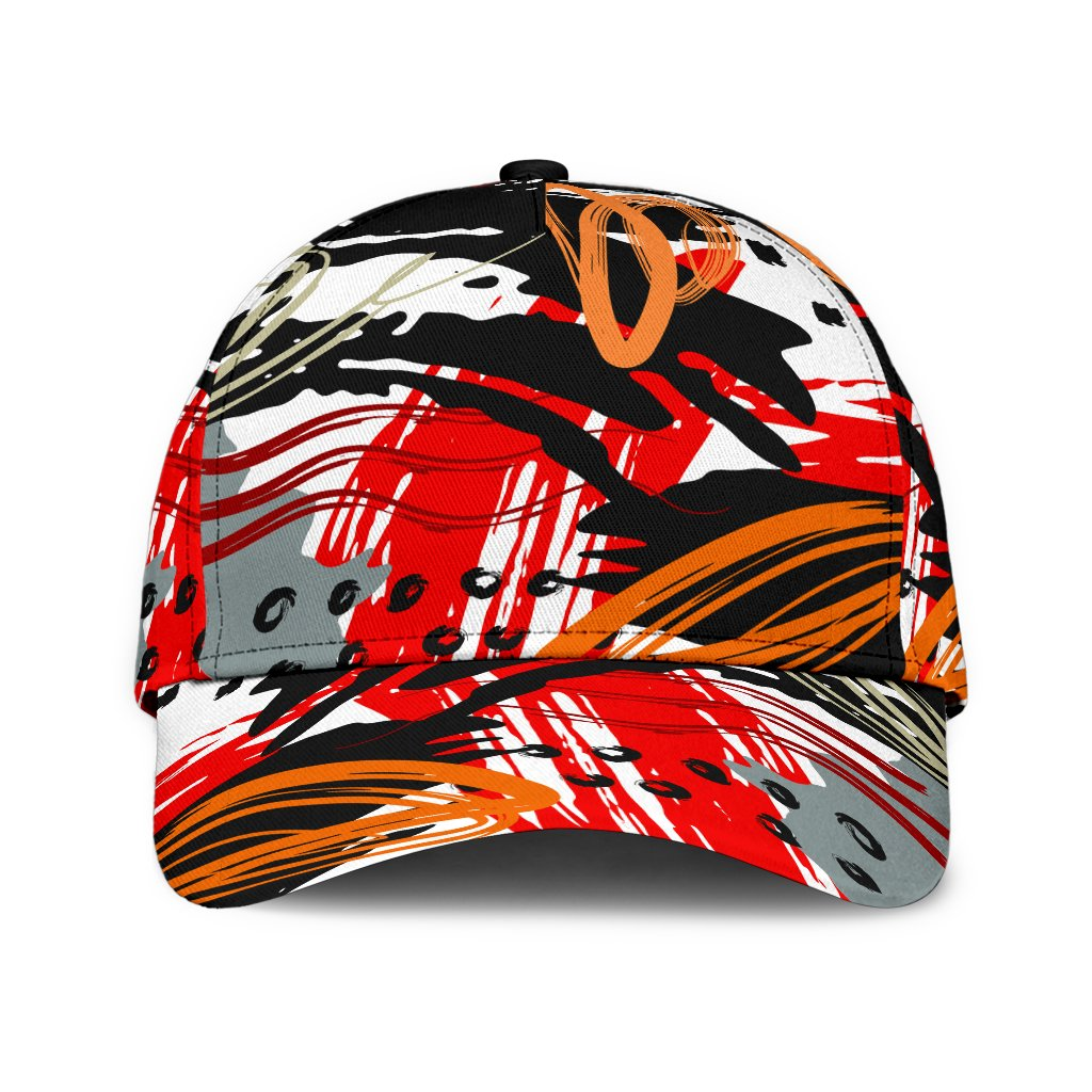 Red and Black Abstract Style Classic Cap
