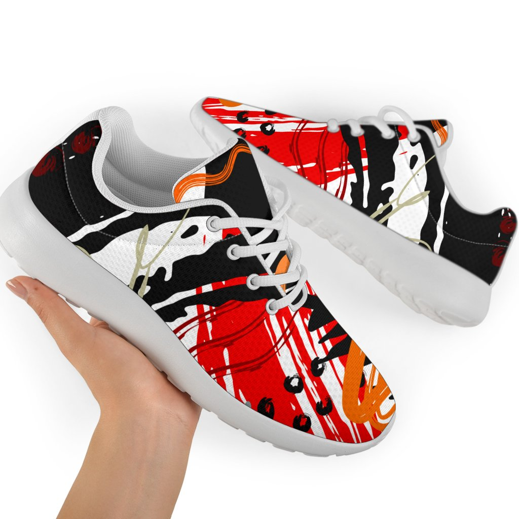 Womens Athletic Shoes, Red and Black Abstract Style Sneakers