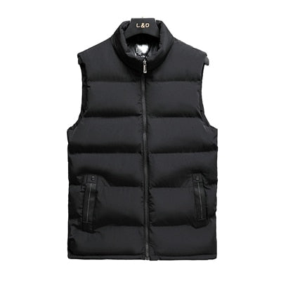 DIMUSI Mens Jacket Sleeveless Vest Winter Fashion Male Cotton-Padded Vest Coats Men Stand Collar Thicken Waistcoats Clothing 5XL