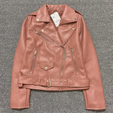 Spring Autumn Women Faux Leather Jacket Ladies Solid With Belt Zipper Biker Coat Female Casual Outwear