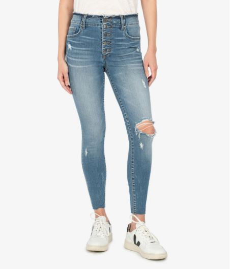 Connie High Rise Ankle Skinny Raw Edge Button Fly - Fully Wash