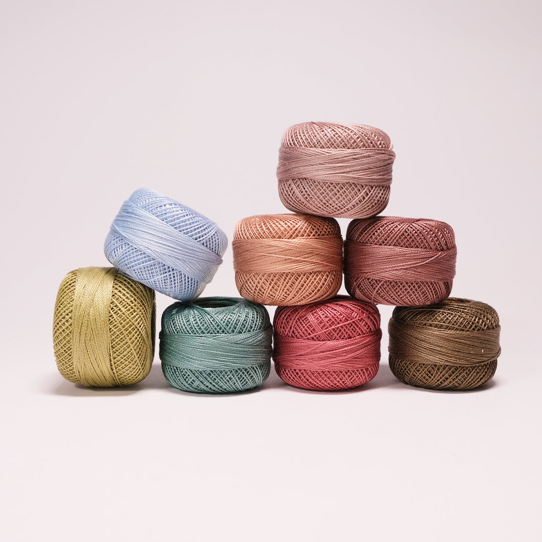 Perle Cotton Dusty Mix Thread Pack - Size 12