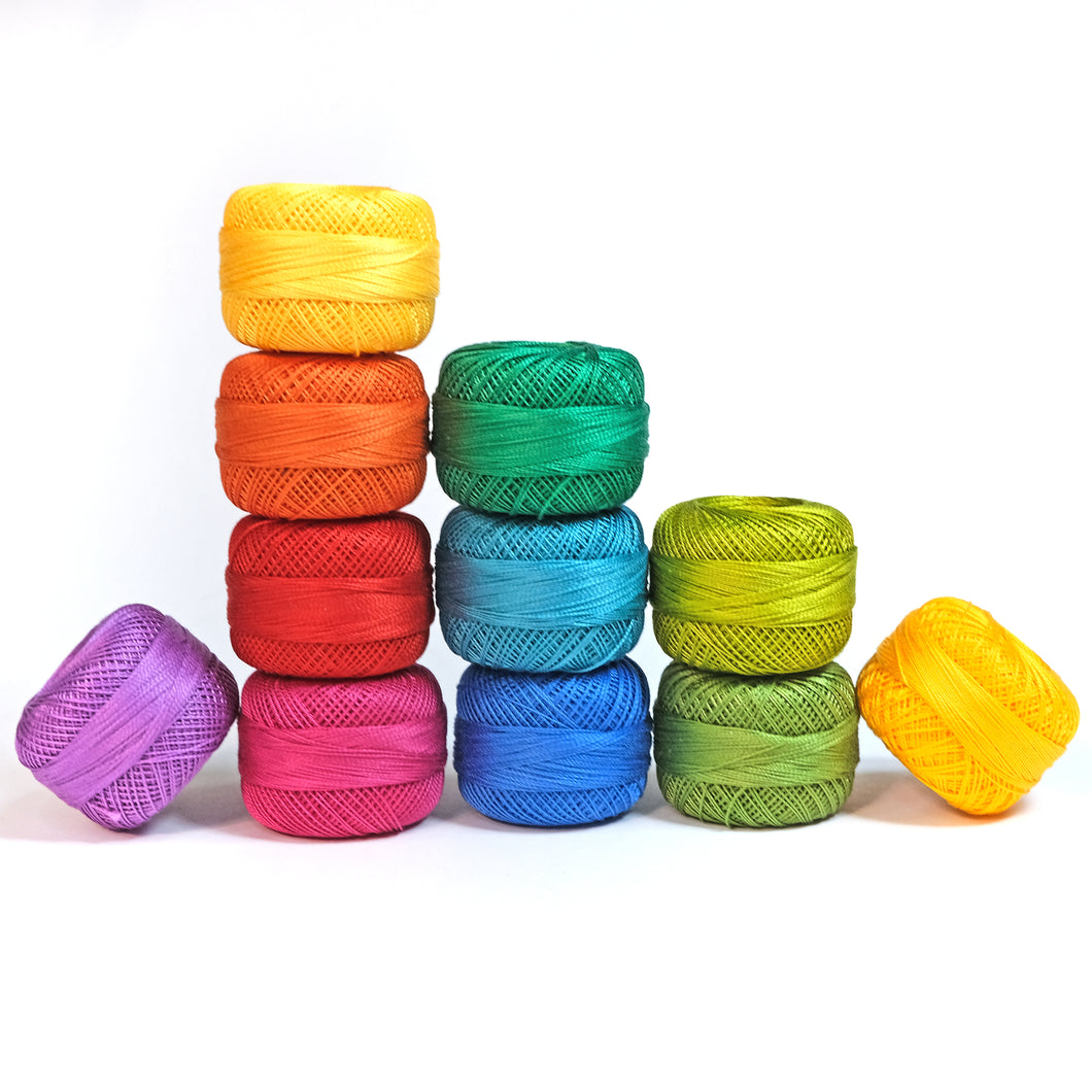 Perle Cotton Rainbow Thread Pack - size 12