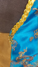 Load image into Gallery viewer, Flying Copper Dragon and Phoenix on Blue Brocade WhmZ