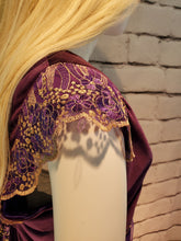 Load image into Gallery viewer, Royal Gold on Purple WhmZ in French Glitter Lace: Plus Size