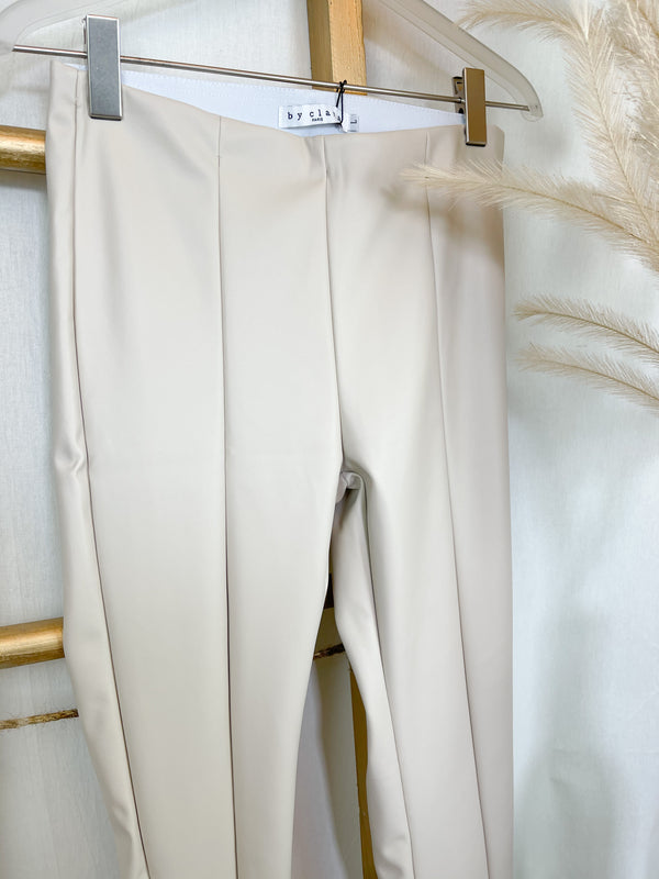 Kunstleder Leggings beige