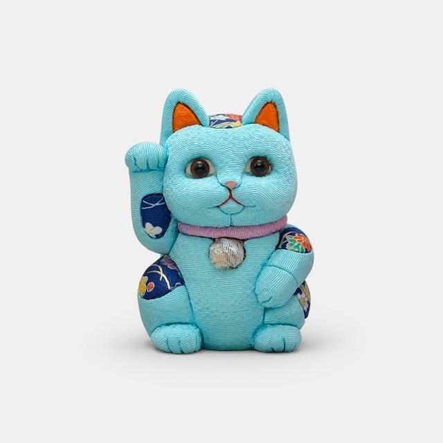 [Beckoning (Lucky) Cat] Maneki Neko, Feng Shui (Blue) Self-Control Patience | Edo Art Dolls