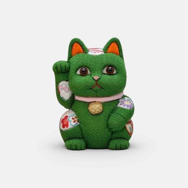 [Beckoning (Lucky) Cat] Maneki Neko, Feng Shui (Green) Rest Fatigue Recovery | Edo Art Dolls