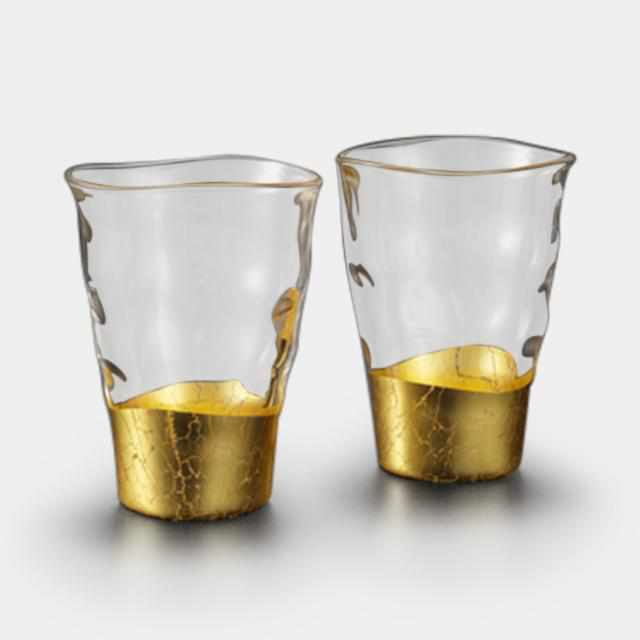 [Mug (Cup)] Penetration Bite Glass (2 Pieces) | Kanazawa Gold Leaf