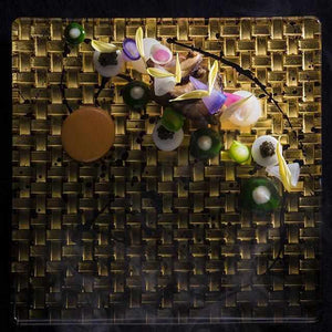 [Large Plate (Platter)] Moonflower Platinum Plate (Long Angle) | Kanazawa Gold Leaf