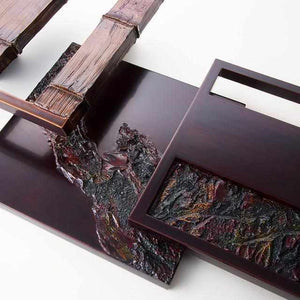 [Wall Decor (Wall Art)] Kokemusu Lacquer Screen Mountain Range Series (4 Points) | Wajima Lacquerware