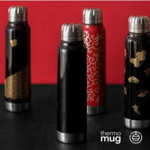 [Tumbler / Water Bottle] Thermo Mug Urushi Umbrella Bottle Wave Chidori (Black) | Echizen Lacquerware
