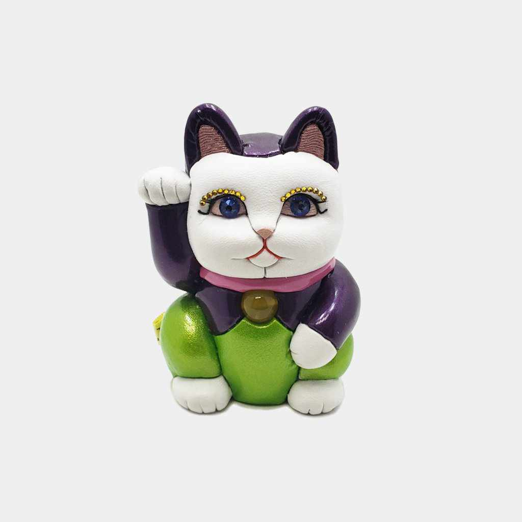 [Beckoning (Lucky) Cat] Maneki Neko, Leather Enamel | Edo Art Dolls