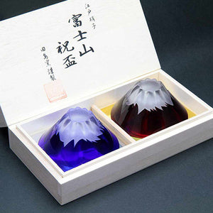 [Glass] Fuji Mt. Sake Cup (Pair) In A Wooden Box | Edo Glass