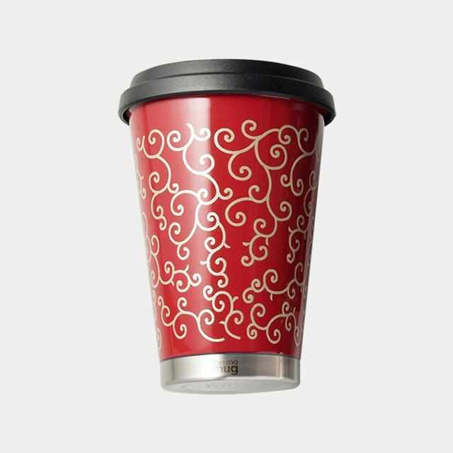 [Tumbler / Water Bottle] Thermo Mug Lacquer Mobile Tumbler Arabesque (Red) | Echizen Lacquerware