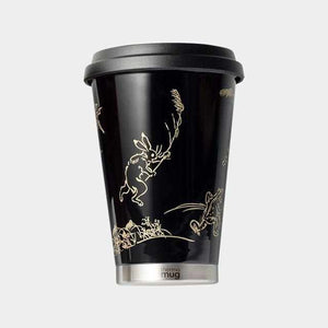 [Tumbler / Water Bottle] Thermo Mug Urushi Mobile Tumbler Bird And Beast Caricature (Black) | Echizen Lacquerware